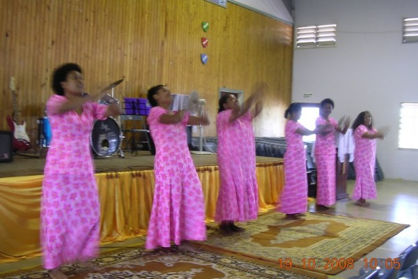 Church ladies with action dance