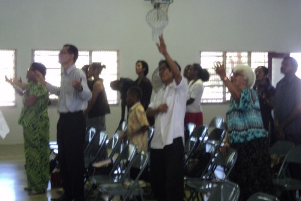 Church in Nadi fiji in worship