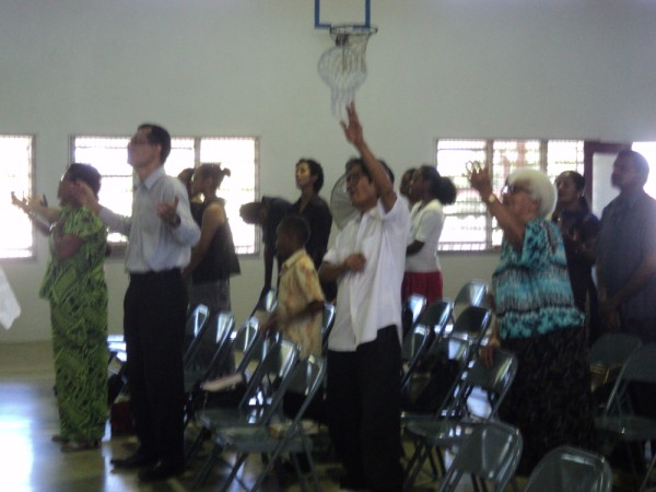 Part of the Church worshipping God